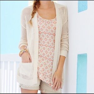 MATILDA JANE Tan Open Knit Long Cardigan Sweater